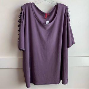 NWT Love Scarlett Purple Crepe Ladder Shirt